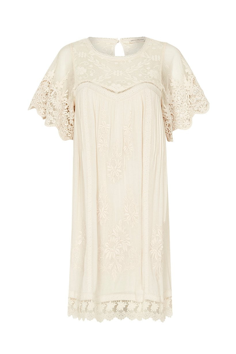Spell Maggie Embroidered Tunic Dress Off White