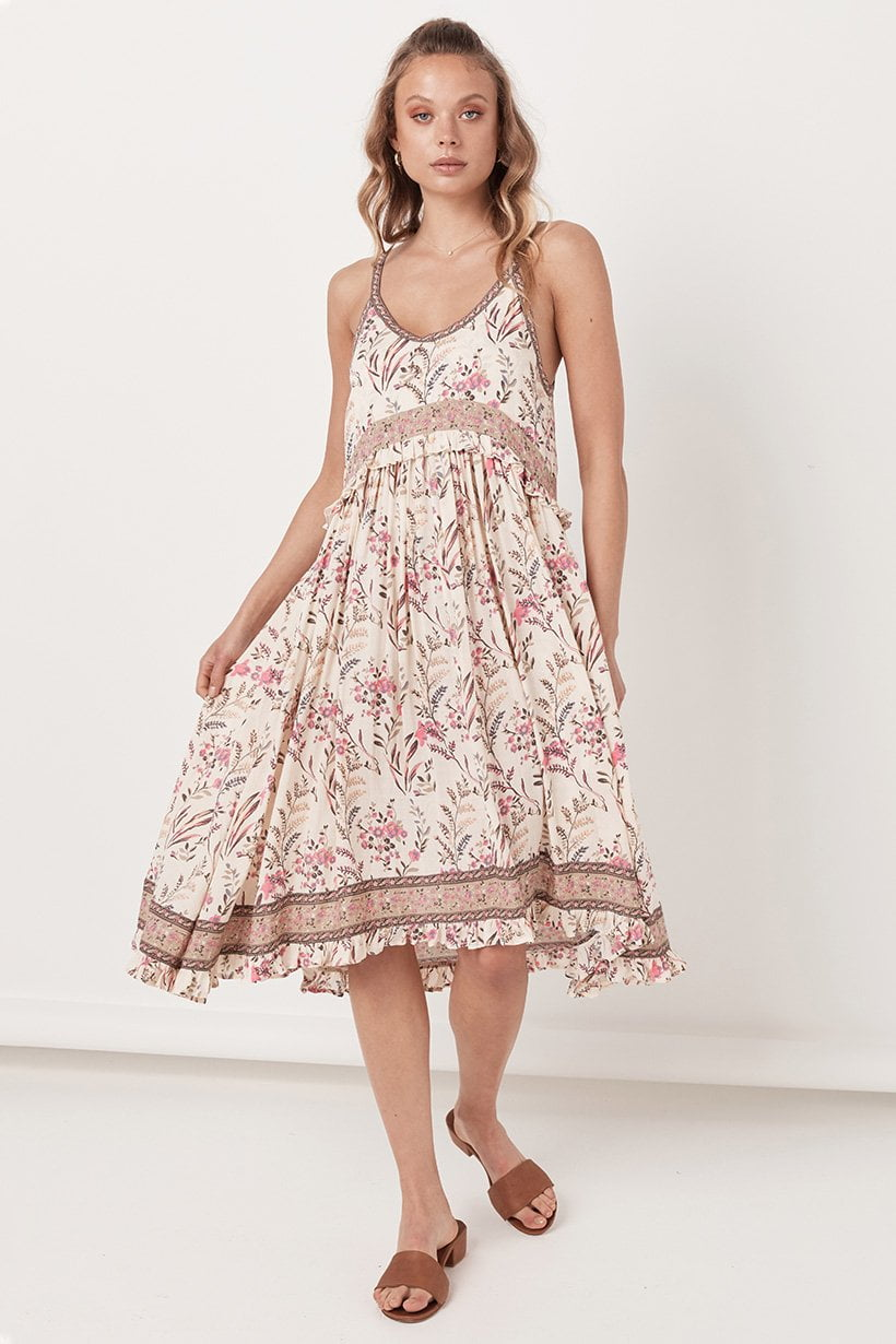 Spell Maisie Strappy Dress Strawberry and Cream