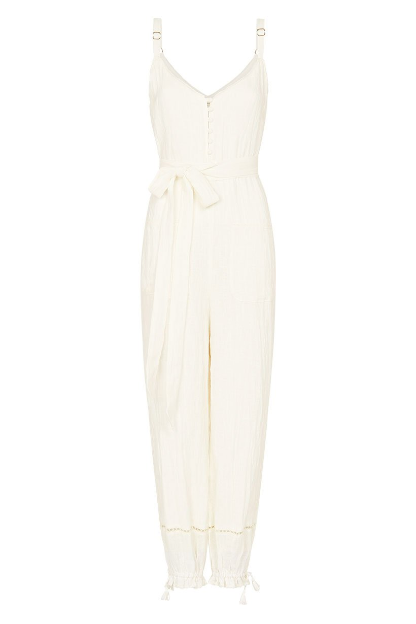 Spell Milla Strappy Jumpsuit Off White