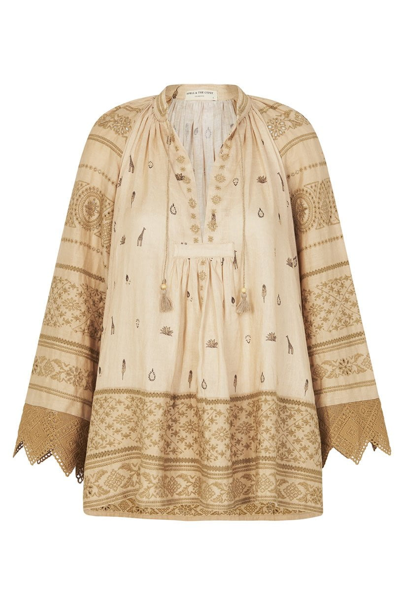 Spell Muwala Embroidered Blouse Almond