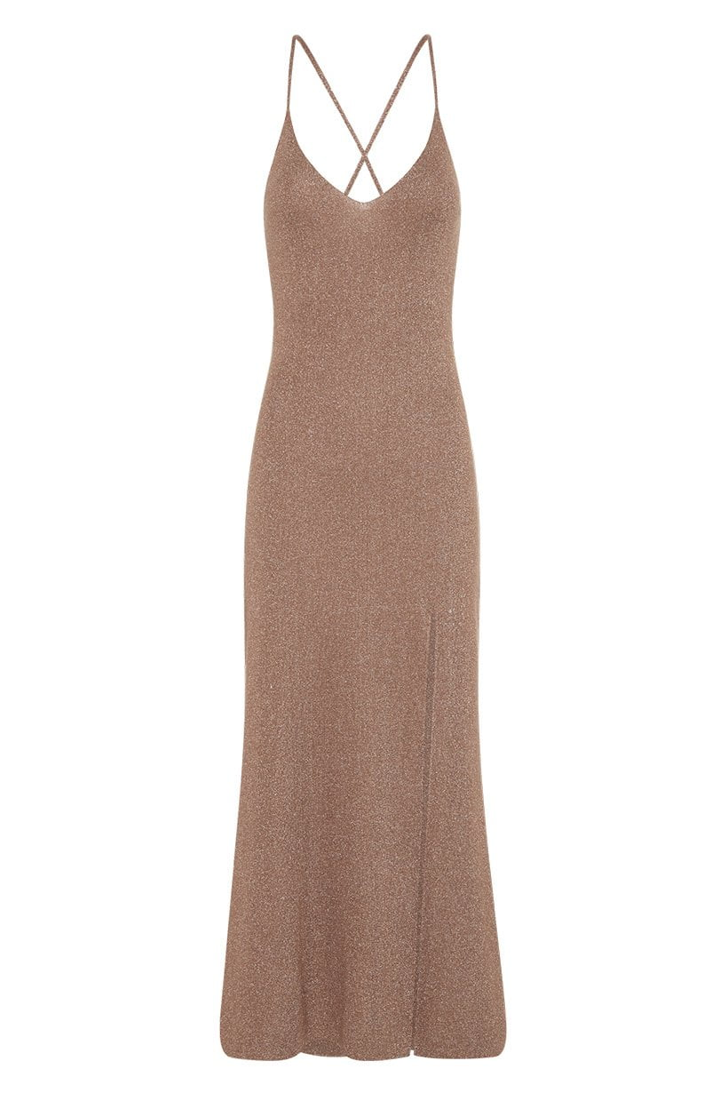 Spell Petra Metallic Knit Slip Dress Honey Walnut