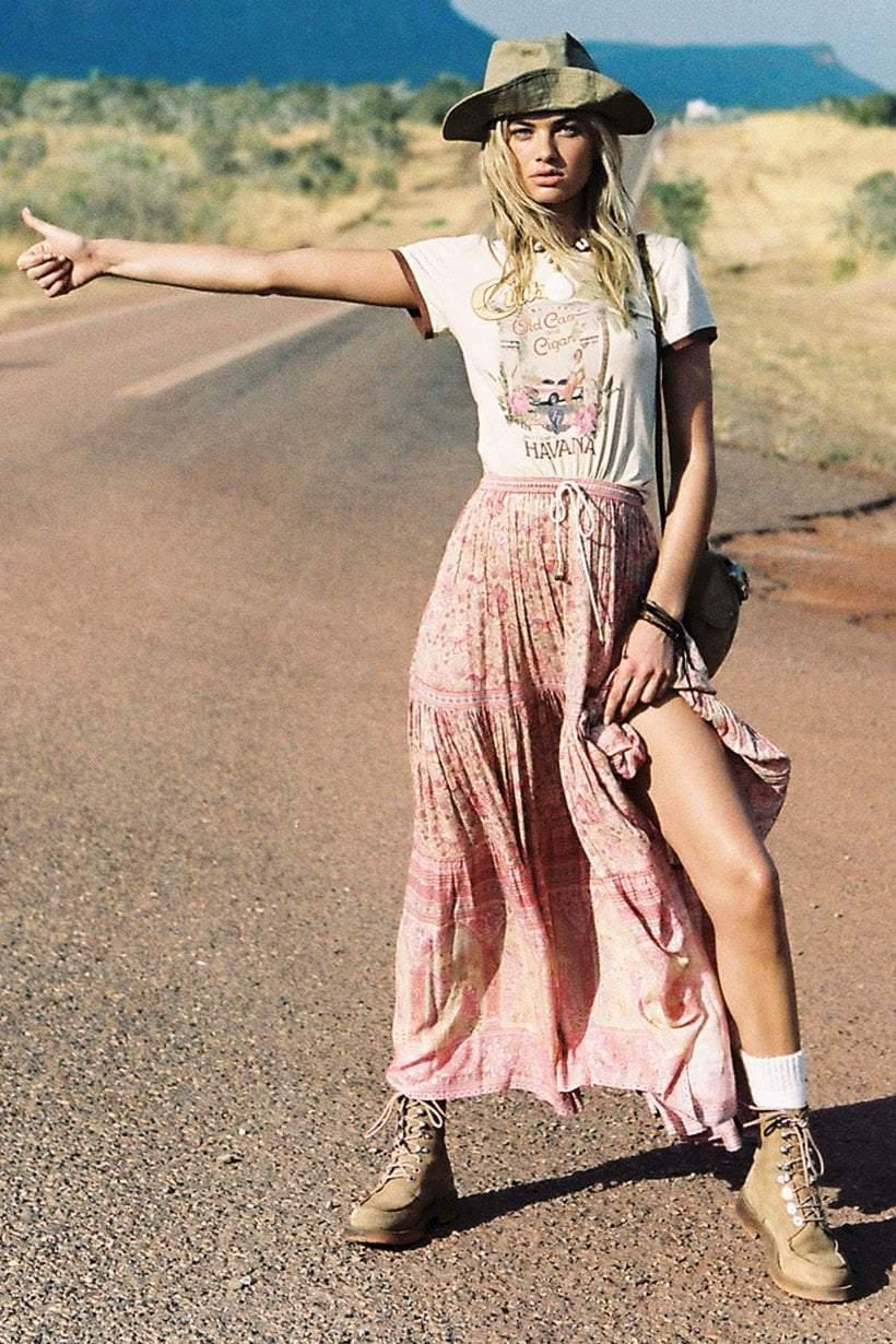 Spell Poinciana Maxi Skirt Cotton Candy