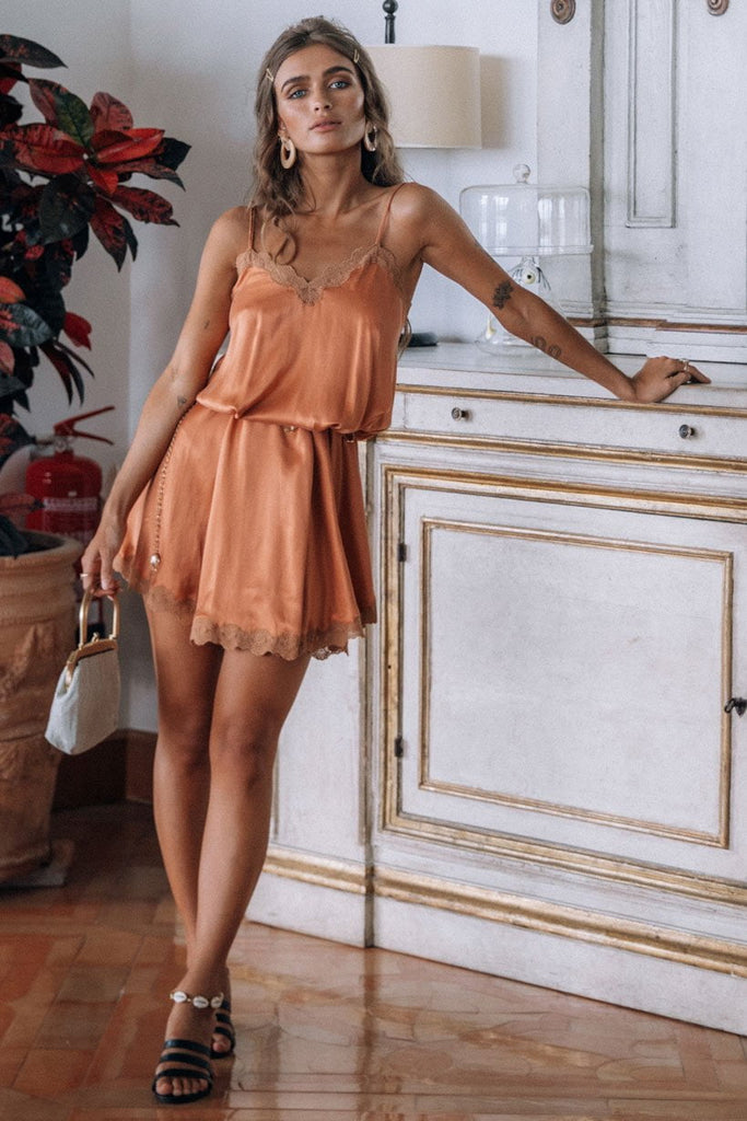 Spell Rizzo Silk Babydoll Dress Copper
