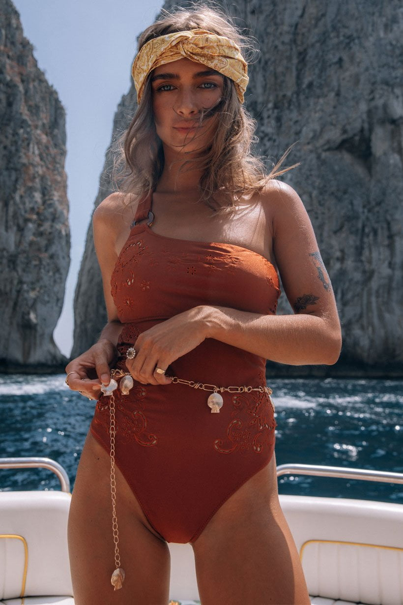 Spell Tyler One Shoulder One Piece Copper