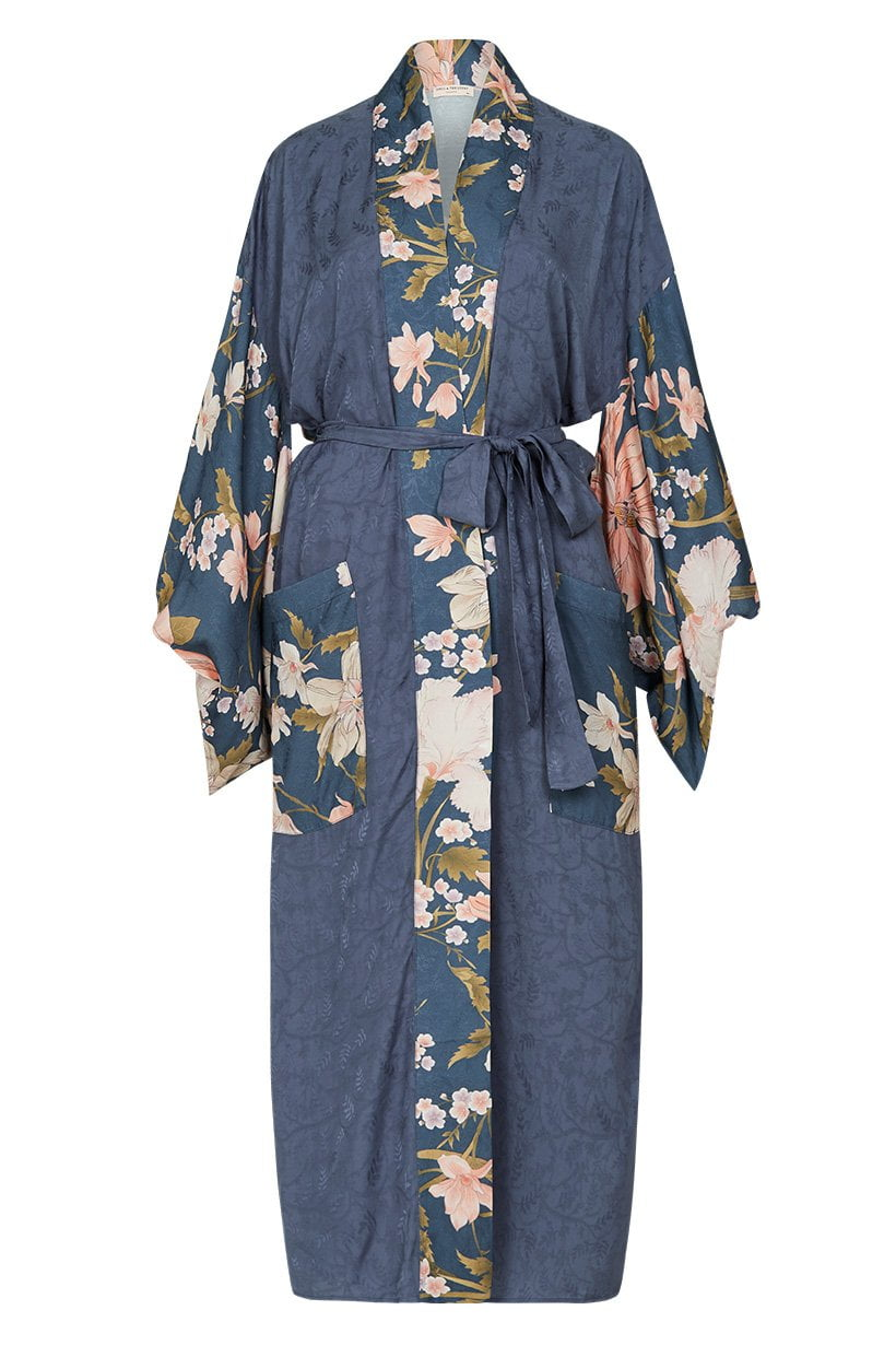 Spell Waterfall Maxi Robe Deep Blue