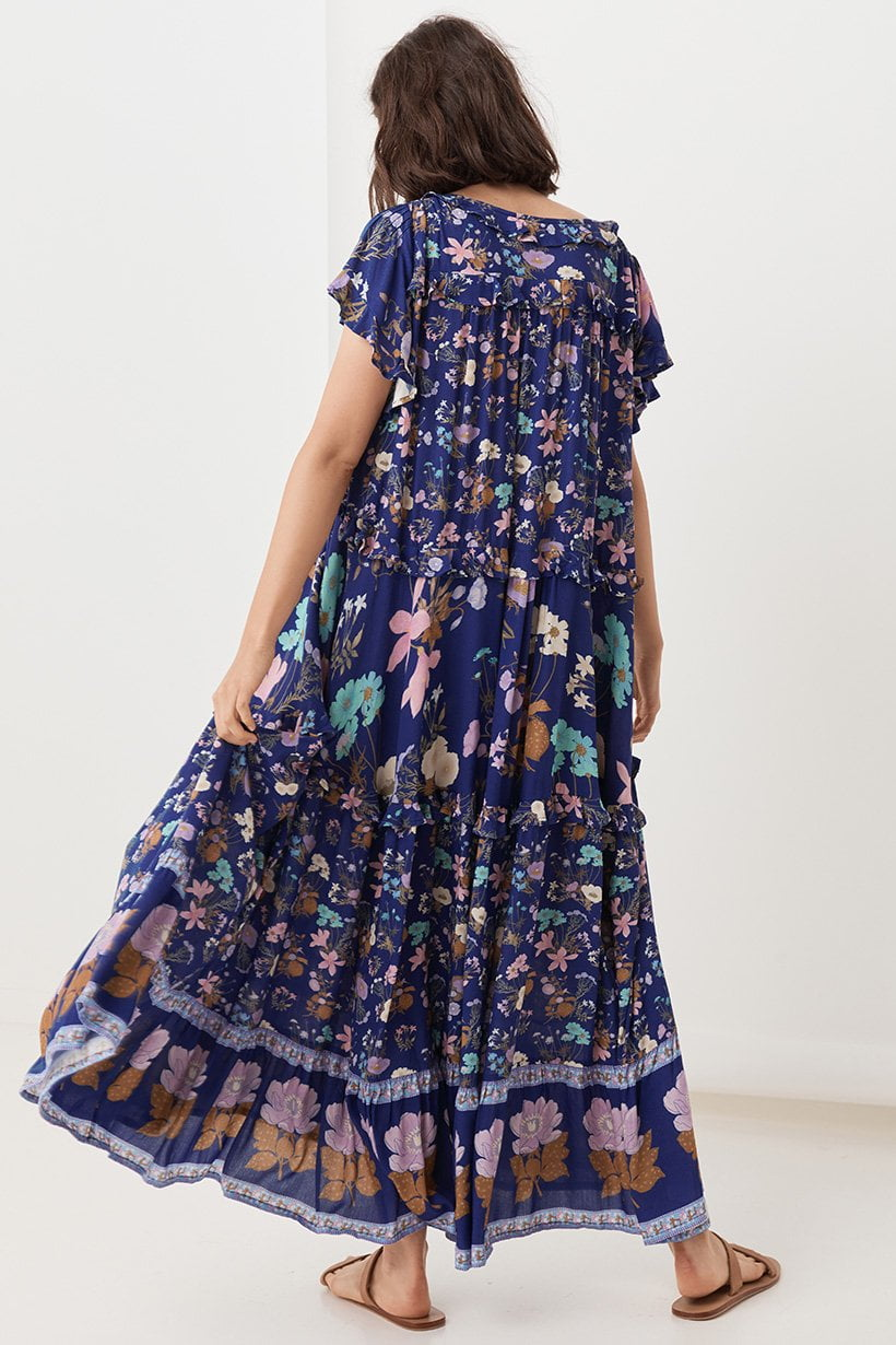 Spell Wild Bloom Gown Navy
