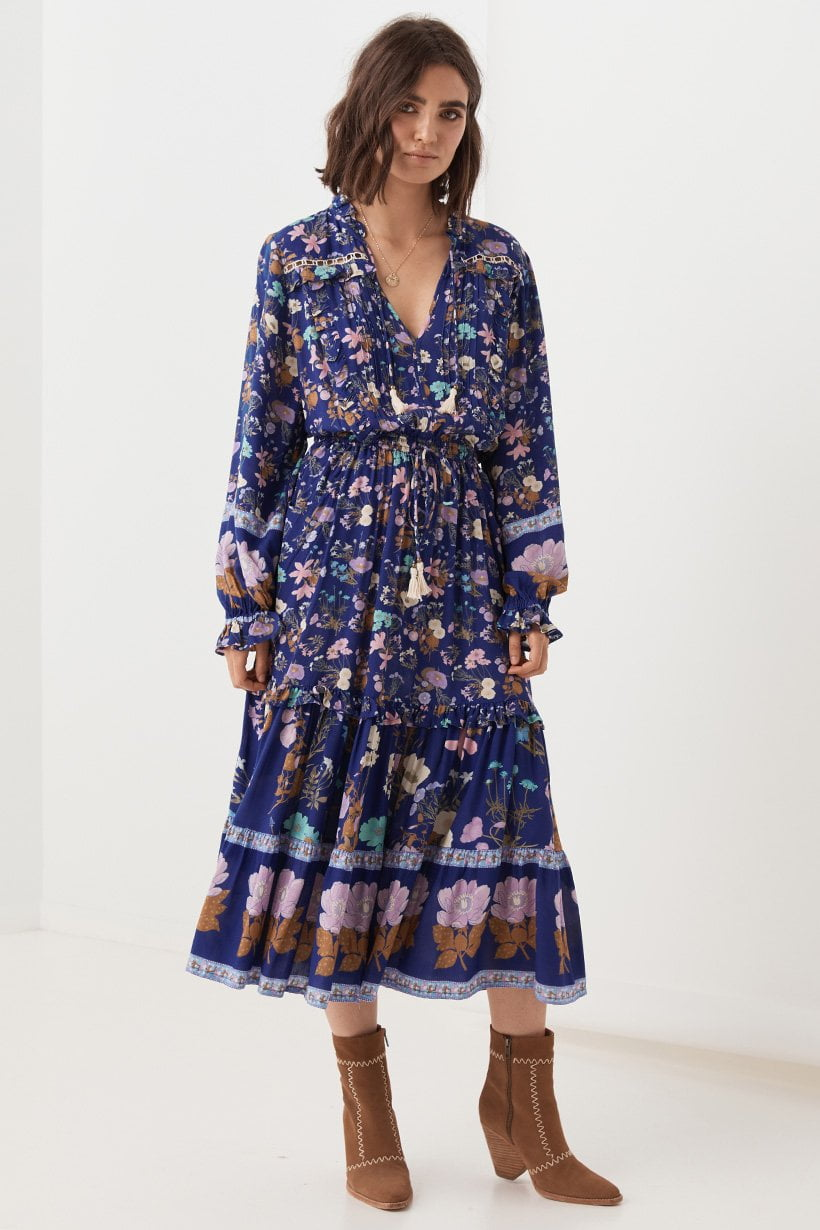 Spell Wild Bloom Midi Dress Navy