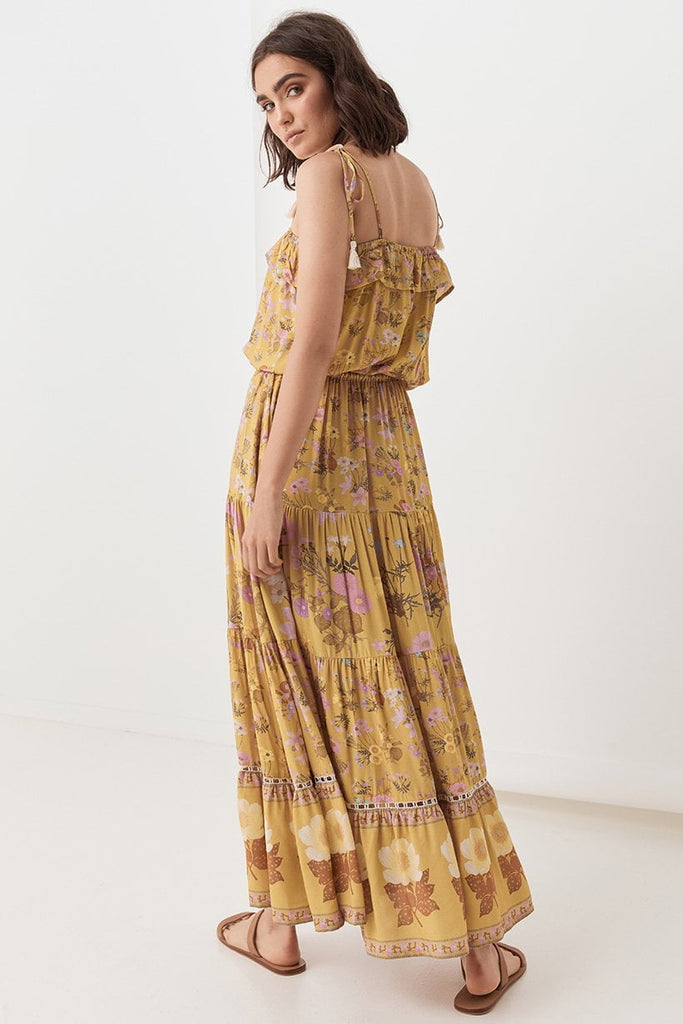 Spell Wild Bloom Strappy Dress Mustard