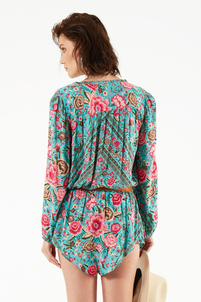 Spell Babushka Blouse Turquoise - Call Me The Breeze - 2