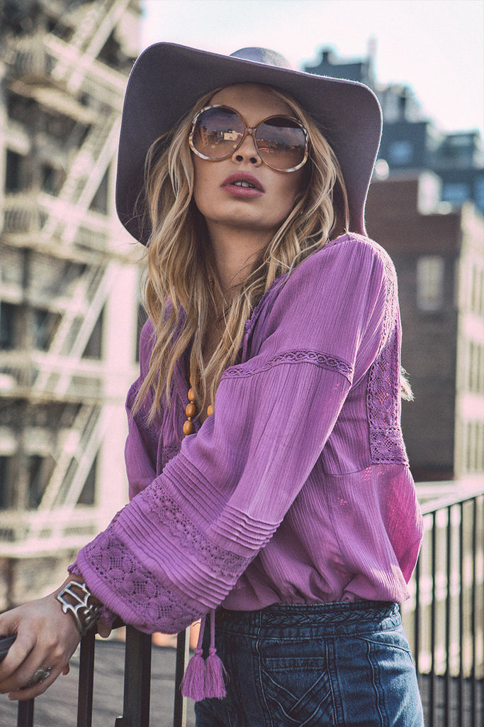 Spell Boho Bella Blouse Mauve - Call Me The Breeze - 2