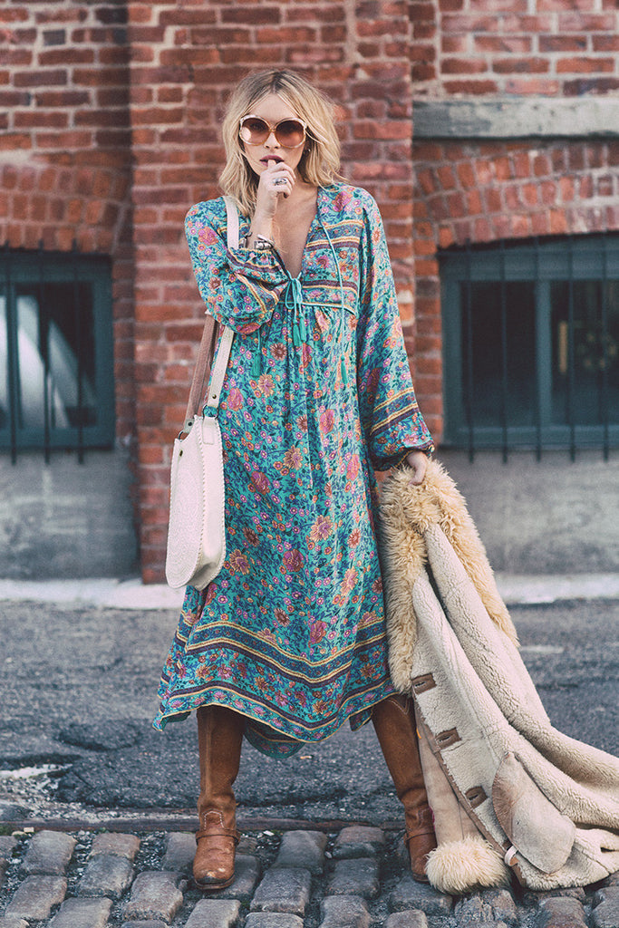 Spell Folk Town Boho Maxi Dress Turquoise - Call Me The Breeze - 2
