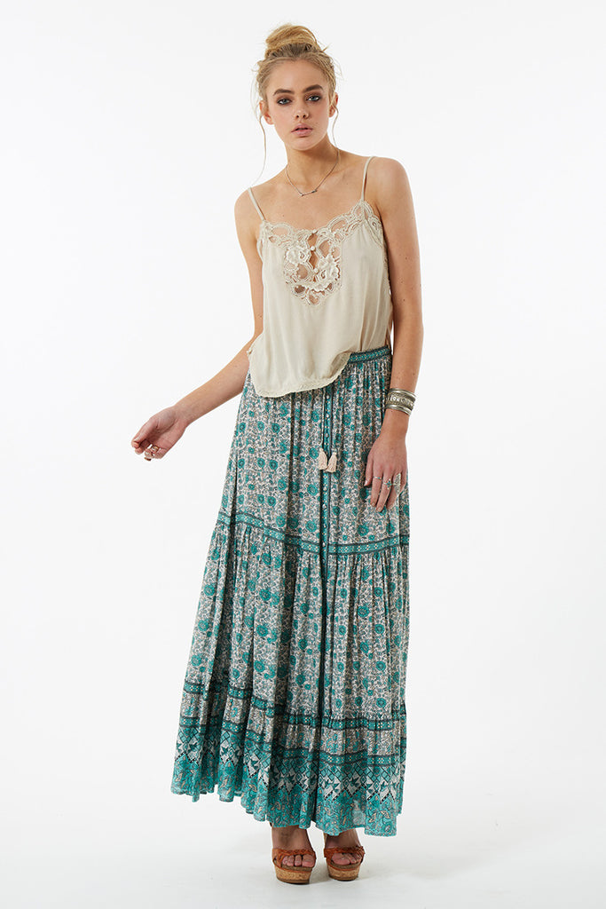 Spell Kombi Button Down Maxi Skirt Sage - Call Me The Breeze - 5