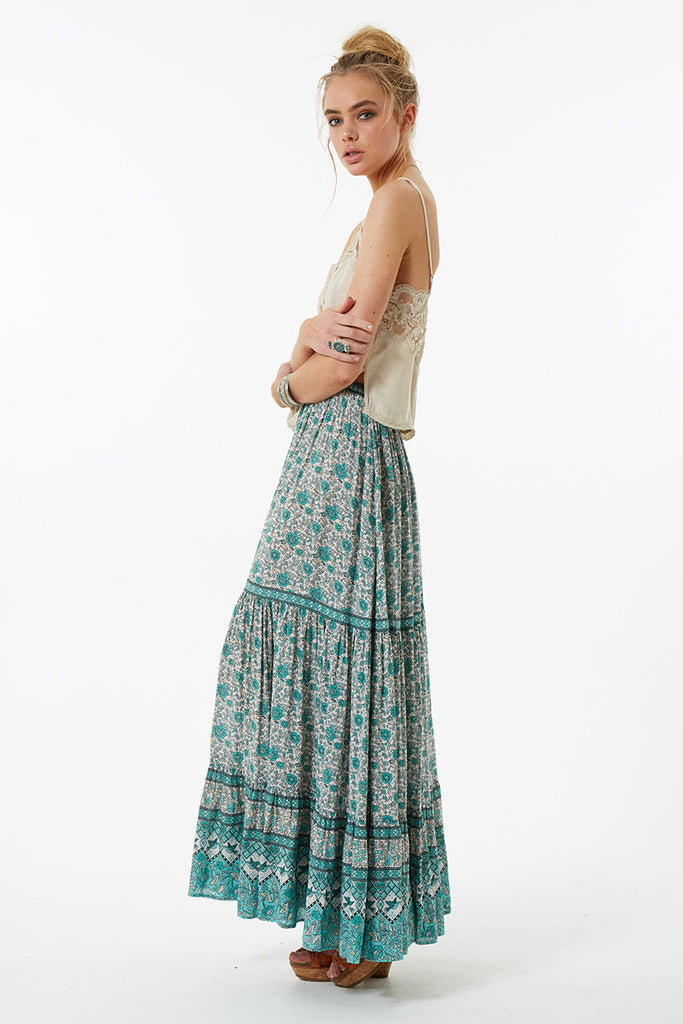 Spell Kombi Button Down Maxi Skirt Sage - Call Me The Breeze - 6