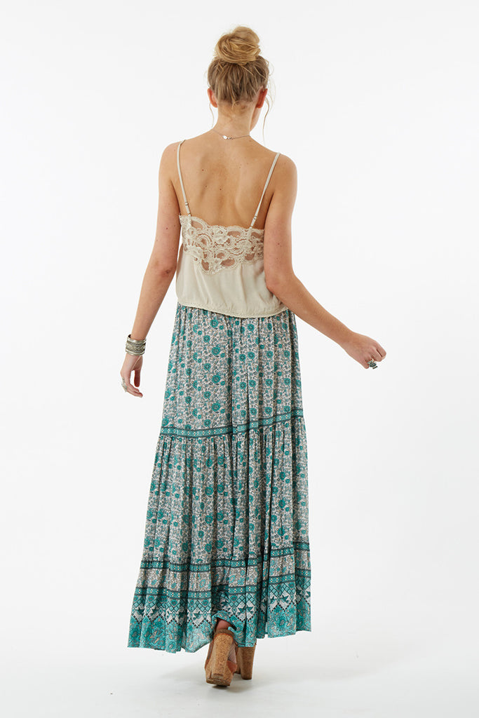 Spell Kombi Button Down Maxi Skirt Sage - Call Me The Breeze - 7