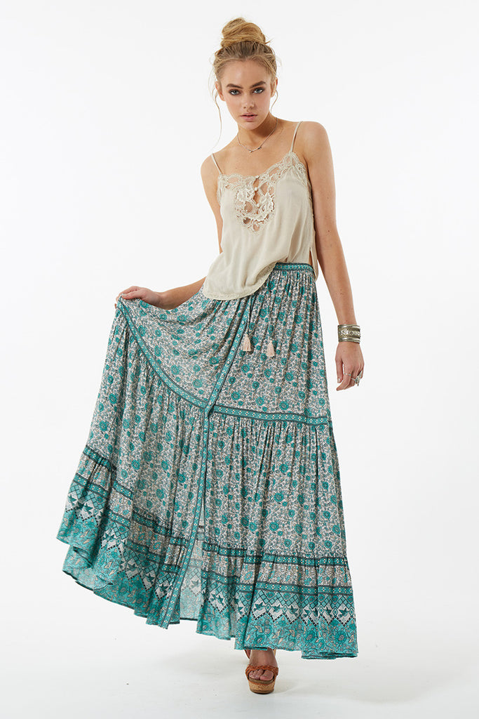 Spell Kombi Button Down Maxi Skirt Sage - Call Me The Breeze - 8