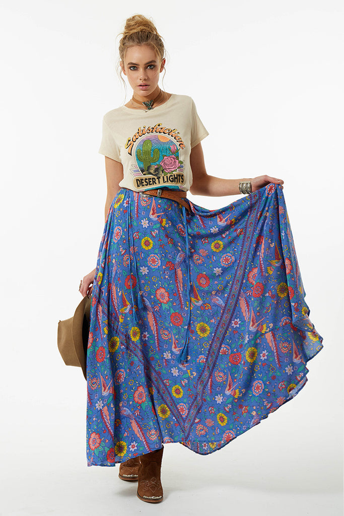 Spell Lovebird Half Moon Skirt Deep Sky - Call Me The Breeze - 4