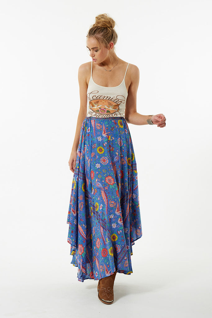 Spell Lovebird Half Moon Skirt Deep Sky - Call Me The Breeze - 7