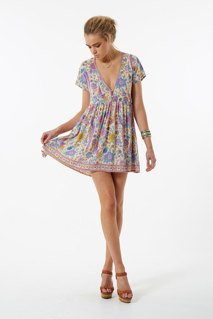 Spell Lovebird Mini Dress Chamomile - Call Me The Breeze - 3