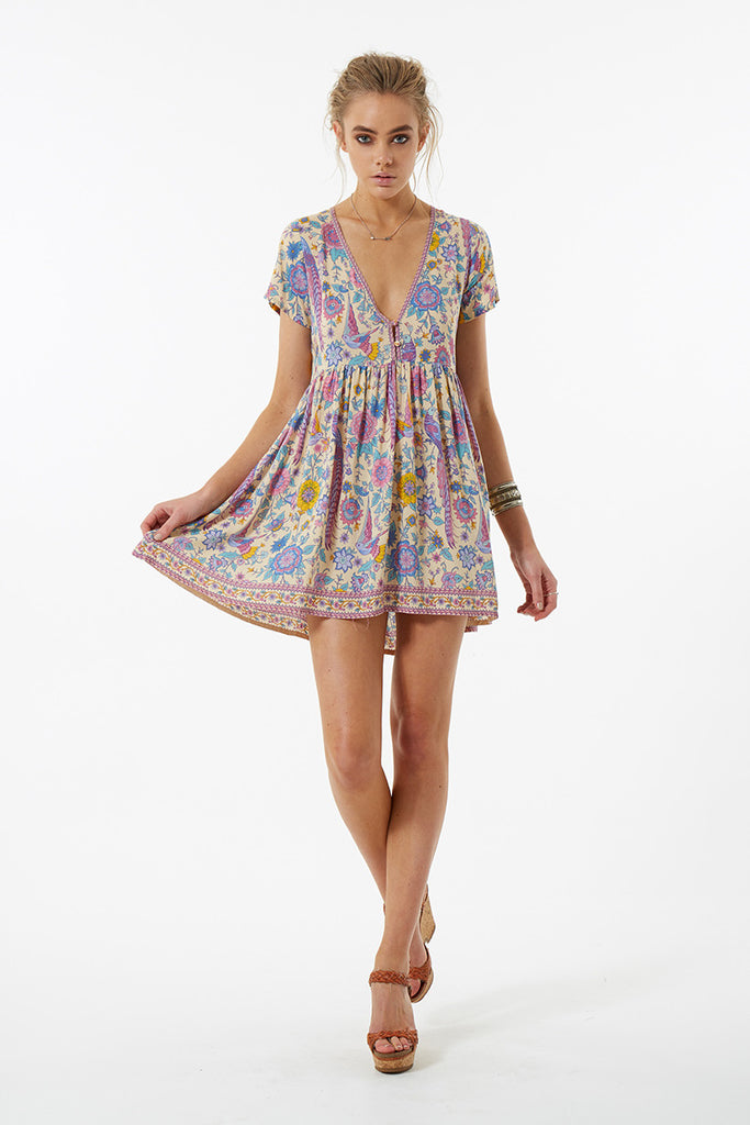 Spell Lovebird Mini Dress Chamomile - Call Me The Breeze - 5