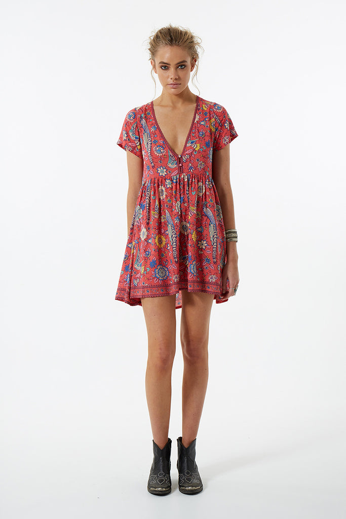 Spell Lovebird Mini Dress Rose - Call Me The Breeze - 5