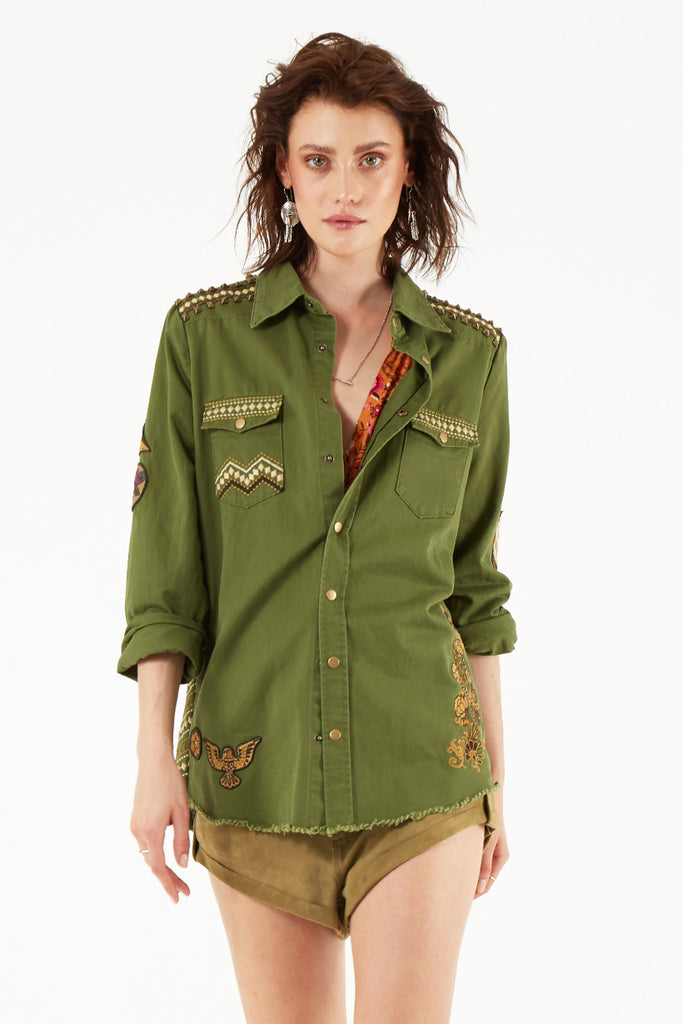 Spell Panther Embellished Army Jacket - Call Me The Breeze - 5