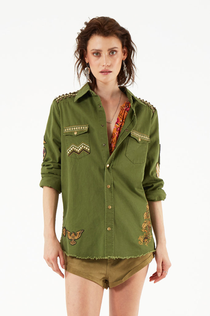 Spell Panther Embellished Army Jacket - Call Me The Breeze - 7