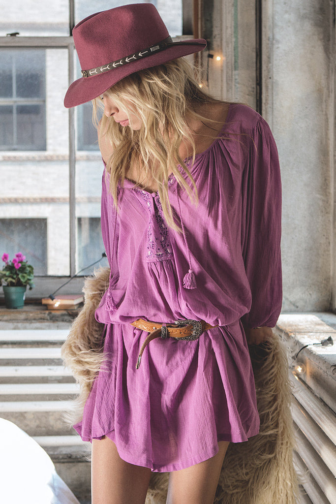 Spell Wild Orchid Smock Dress Mauve - Call Me The Breeze - 2