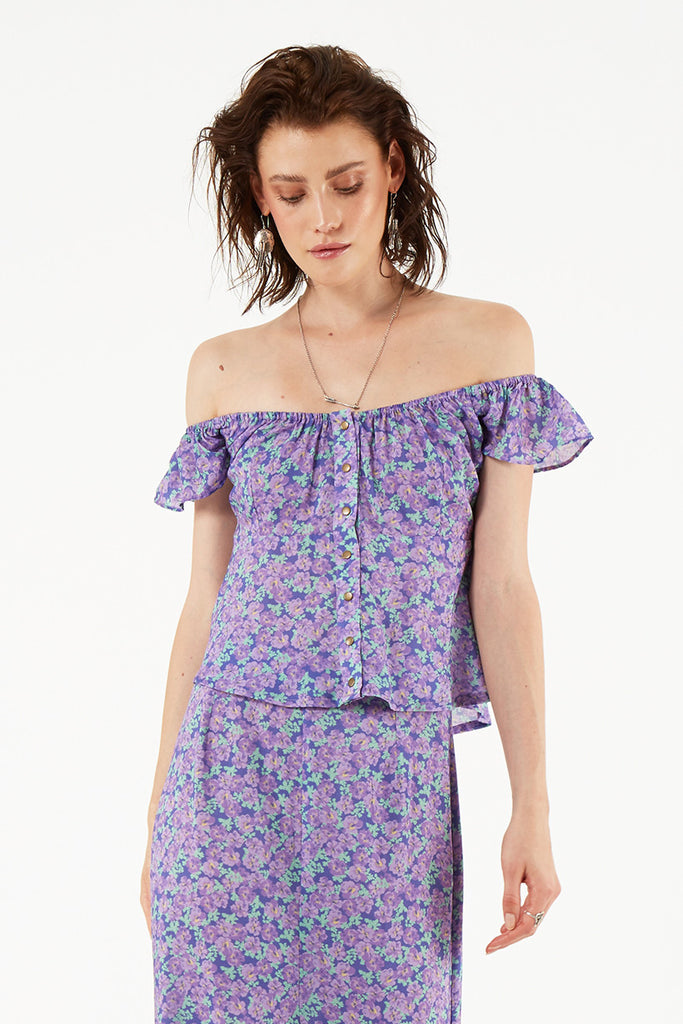 Spell Wildflower Off the Shoulder Cami Violet - Call Me The Breeze - 3