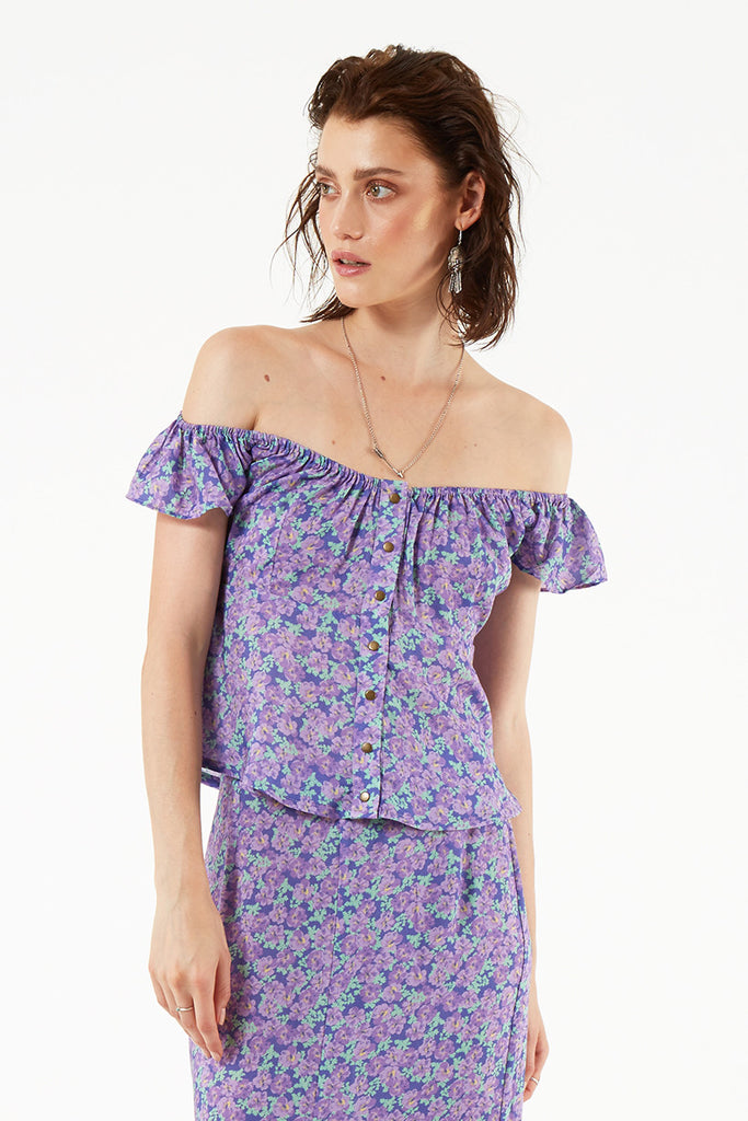 Spell Wildflower Off the Shoulder Cami Violet - Call Me The Breeze - 8