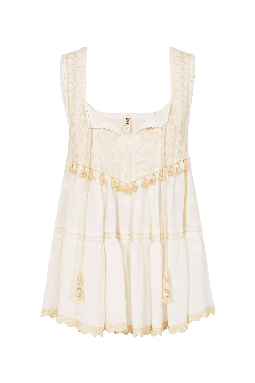 Spell Cassidy Sleeveless Top White