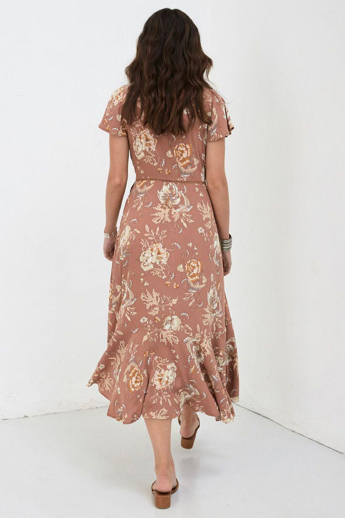 Spell Rosa Garden Party Dress Camel
