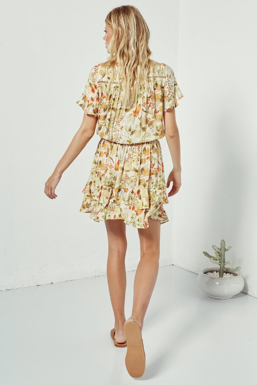 Spell Sayulita Short Sleeve Frill Mini Dress Sunflower