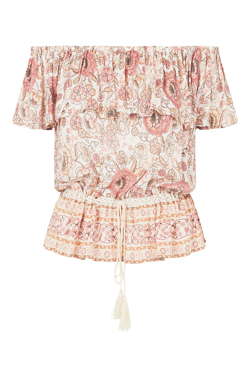 Spell Zahara Off Shoulder Top Dusty Pink