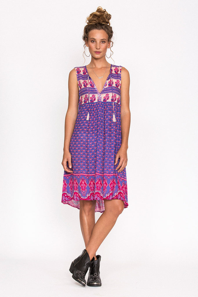 Spell Sunset Road Shift Dress Royal - Call Me The Breeze - 3