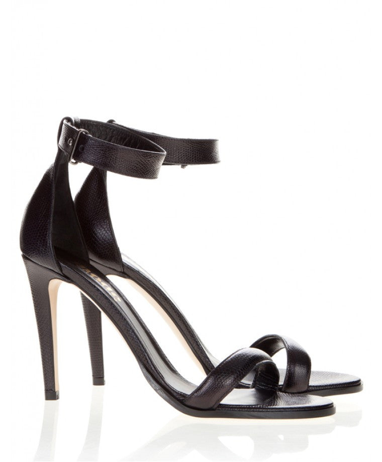 Mode Collective Ankle Strap Sandal Black Lizard - Call Me The Breeze