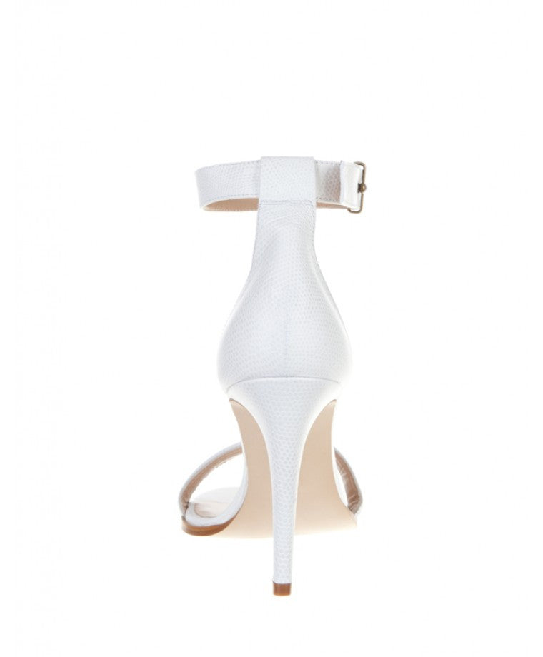 Mode Collective Ankle Strap Sandal White Lizard - Call Me The Breeze