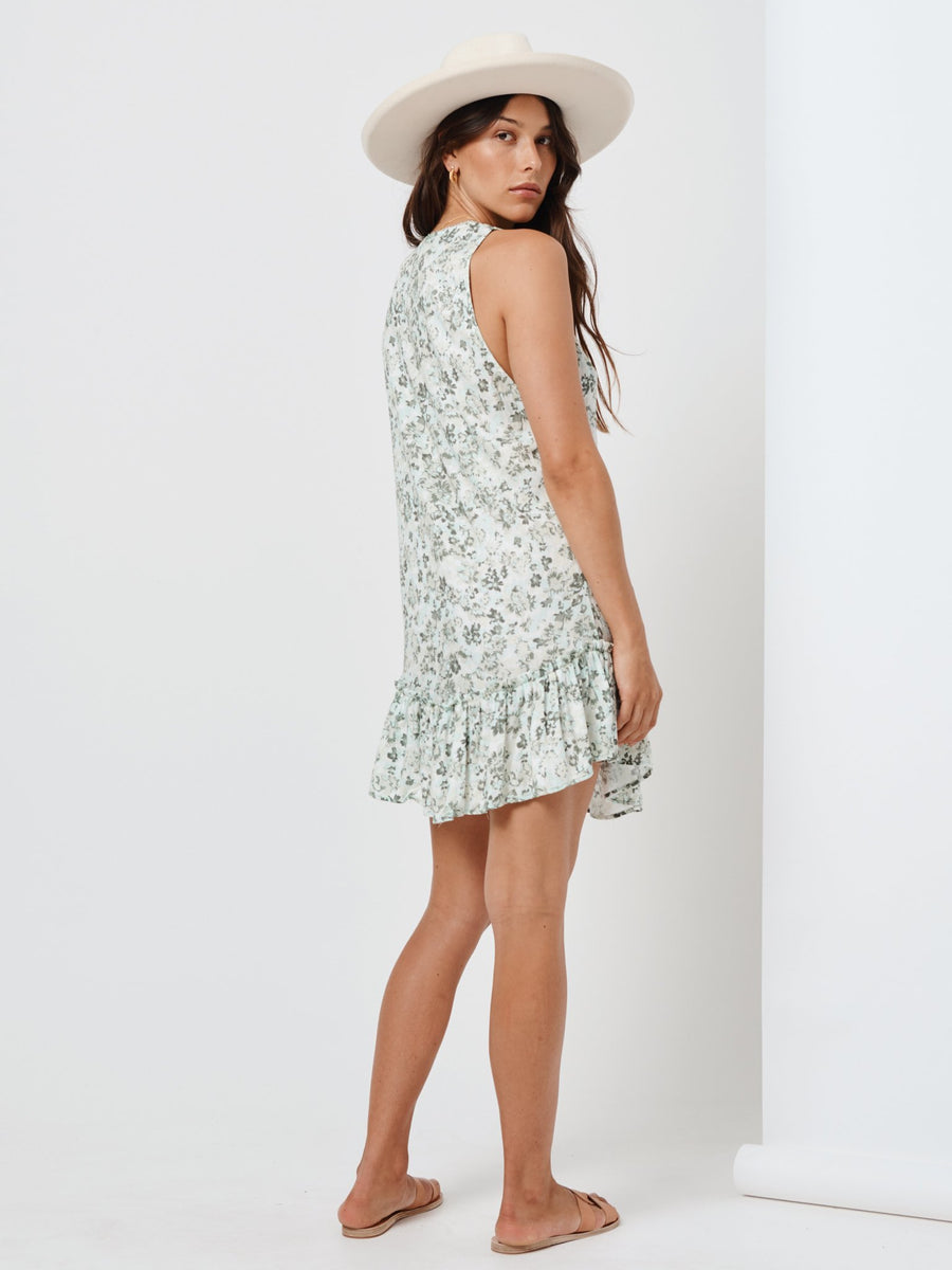 Kivari Valley Floral Sleeveless Mini Dress Emerald Floral