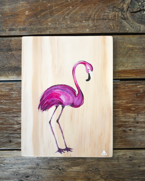 Ville Creative Original Art on Pine Flamingo - Call Me The Breeze - 2