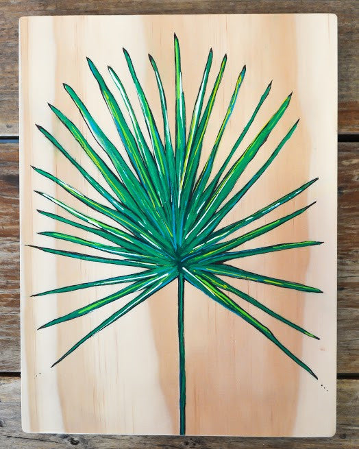 Ville Creative Original Art on Pine Tropical Leaf - Call Me The Breeze - 1