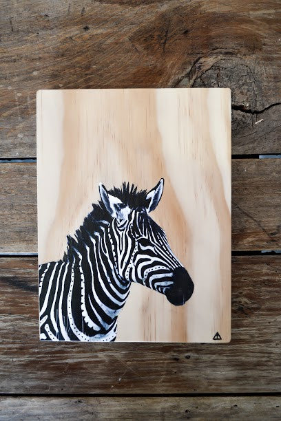 Ville Creative Original Art on Pine Zebra - Call Me The Breeze - 2