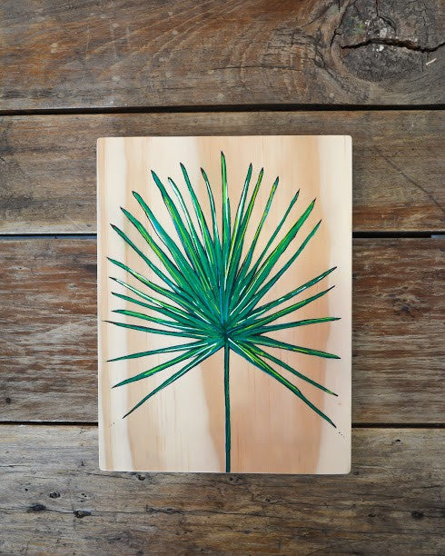 Ville Creative Original Art on Pine Tropical Leaf - Call Me The Breeze - 2