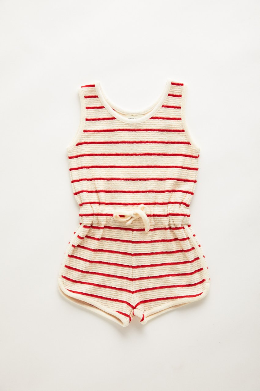 Zulu and Zephyr Mini Towel Playsuit Sunset Stripe