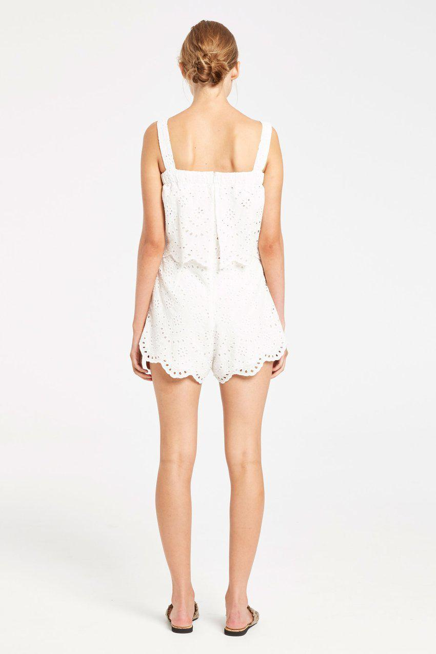 Zulu And Zephyr Keyhole Playsuit White