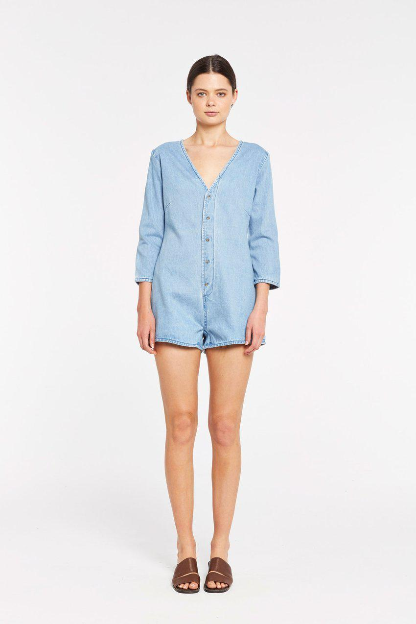 Zulu and Zephyr Saltbush Denim Playsuit
