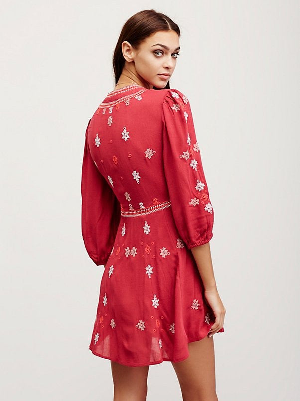 Free People Star Gazer Dress Red - Call Me The Breeze - 2