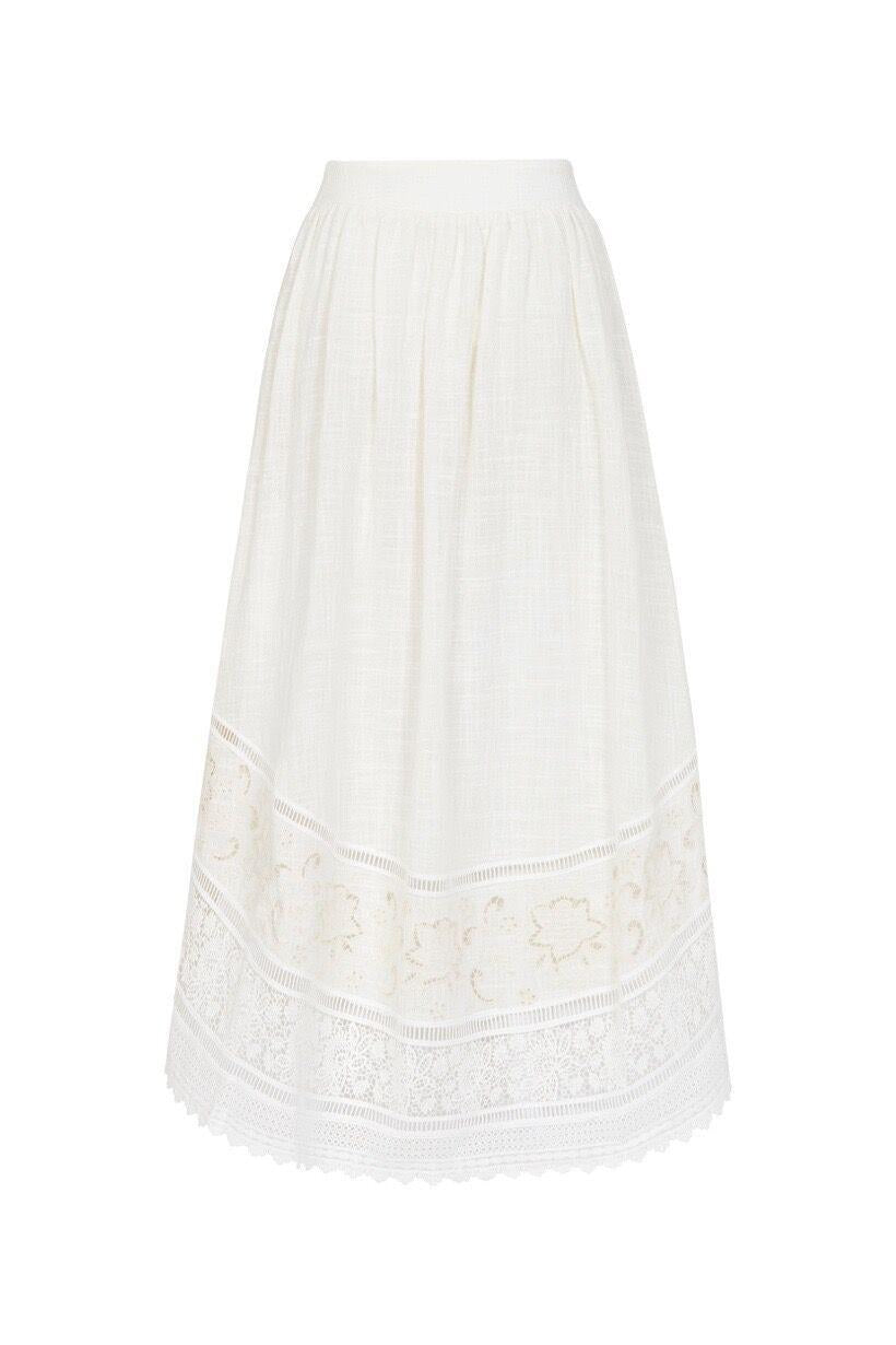 Spell Abigail Lace Tie Side Skirt White