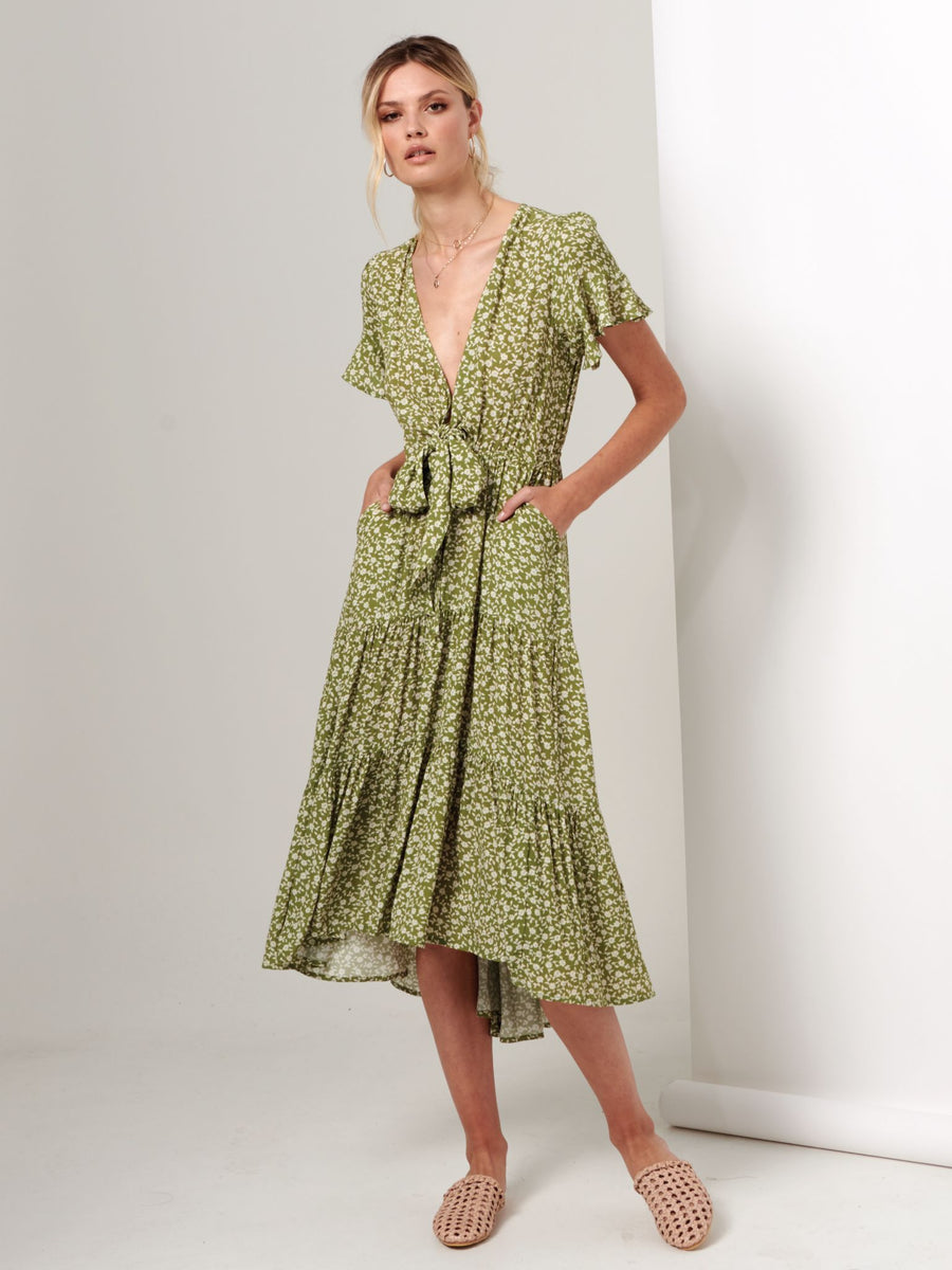 Kivari Gracie Floral Tie Front Maxi Dress Green Floral