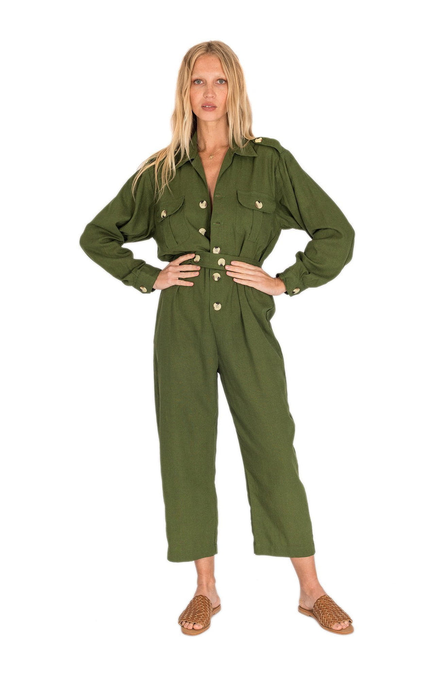 The Bare Road Bailey Jumpsuit Forest Green