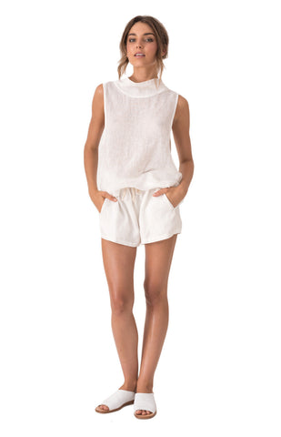 The Bare Road Linen Boxer Short White - Call Me The Breeze - 1