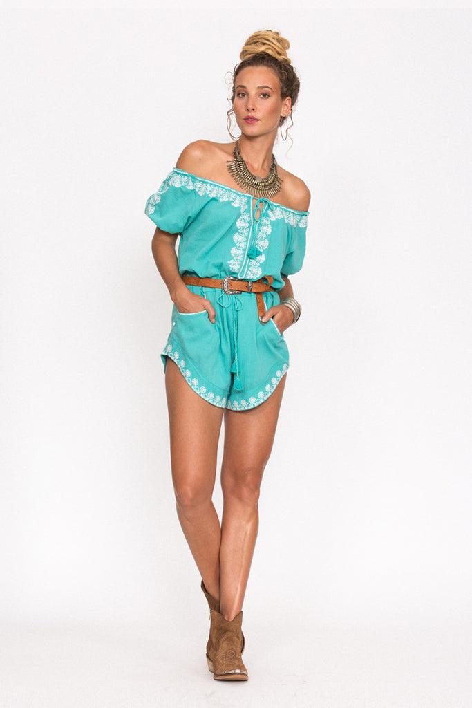 Spell Santorini Embroidered Romper Turquoise - Call Me The Breeze - 4